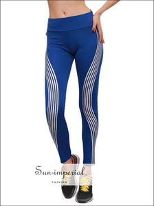 Women Stripe Rainbow Leggings Fitness Sports Gym Running Yoga Athletic Pants