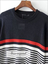 Women Stripes Knit Sweater with Rolled Hems Navy, Red, and White Stripes Knit Pullovers