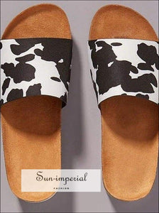 Women Summer Beach Sandals Flats Casual Shoes Woman Slides Slippers Outdoor Cork Sandalias - Cow SUN-IMPERIAL United States
