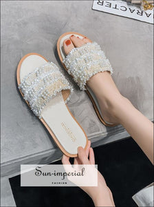 Women Summer Flats Shoes Slippers Slides Bead Beach SUN-IMPERIAL United States