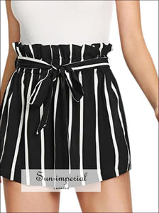 Women Summer High Quality Stripe Fit Elastic Waist Pocket Shorts