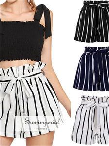 Women Summer high quality Stripe Fit Elastic Waist Pocket Shorts SUN-IMPERIAL United States