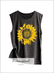 Women Sunflower Print Sleeveless Yoga Tank Running top T-shirt Fitness Shirt Sweat-absorbent SUN-IMPERIAL United States