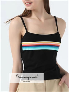 Women Super Soft Cotton Tank Offset Printing Rainbow Stripes Cropped Cami Tops Contrast Color