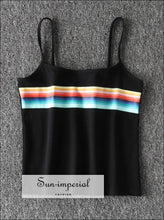Women Super Soft Cotton Tank Offset Printing Rainbow Stripes cropped Cami Tops Contrast Color Stripes Camis BASIC SUN-IMPERIAL United States
