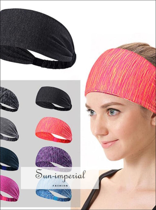 Women Sweatband Sports Headband Stretch Elastic Yoga Running Head Wrap Hair Accessories SUN-IMPERIAL United States