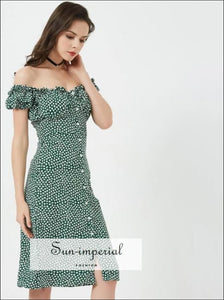 Women Sweet Heart Neck Floral Print Midi Dress off the Shoulder Frill Trim Floral Print Green Dress