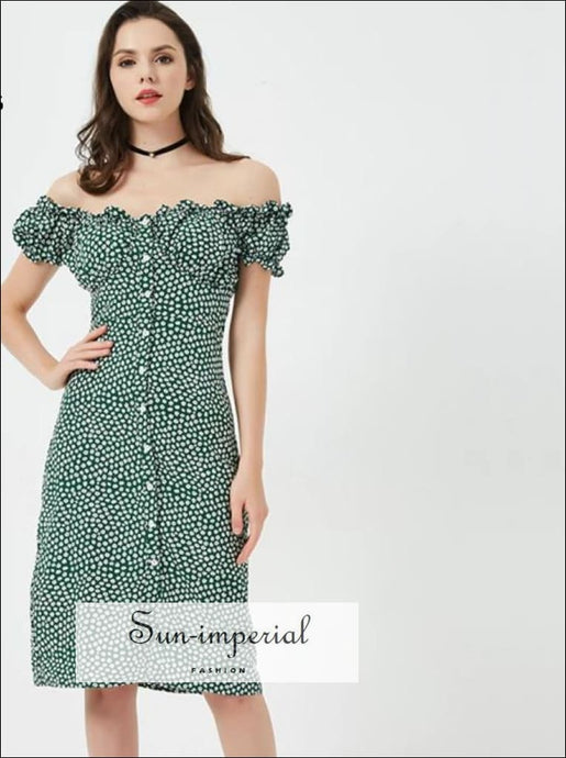 Women Sweet Heart Neck Floral Print Midi Dress Off The Shoulder Frill Trim Floral Print Green Dress SUN-IMPERIAL United States
