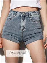 Women Tall Riot High Rise Denim Shorts High Quality Jeans Short With Roll Hem SUN-IMPERIAL United States