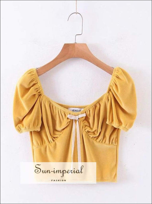 Women Tie front Velvet top with Puff Sleeve Crop top - Yellow