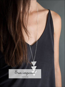 Women Triangle Long Chain Necklace SUN-IMPERIAL United States