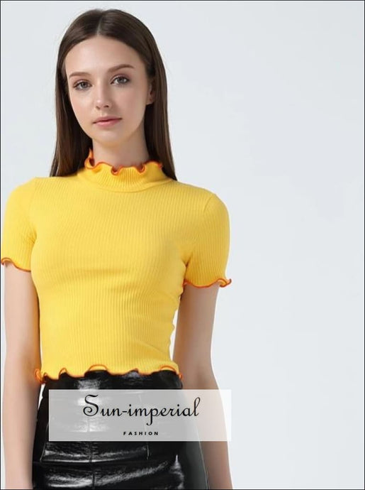 Women Turtleneck Short Sleeve T-shirt with Contrast Ruffled Trimming Edge Crop Tops BASIC SUN-IMPERIAL United States