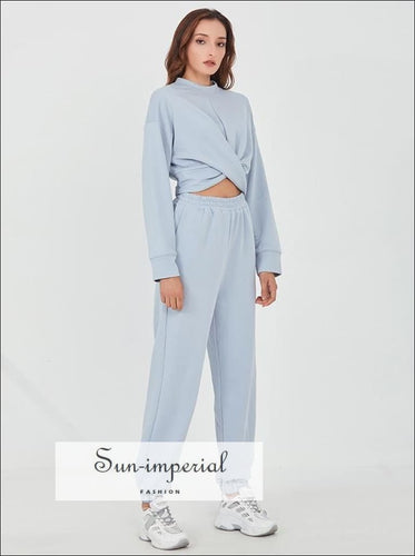 Women Two Piece Blue Criss Cross Cropped O Neck Long Sleeve Sweatshirt top and Sweatpants Set 2 piece set, activewear, two women active