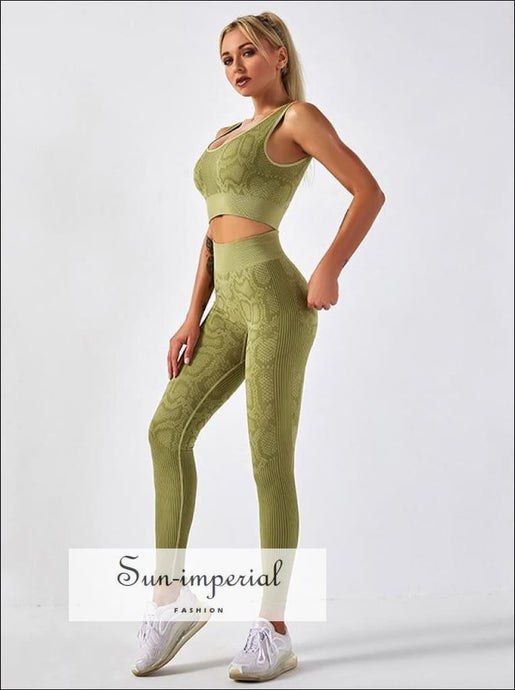 Women Two Piece Green Snake Print Cropped top Round back Sport Bra and High Waist Legging ACTIVE WEAR, active wear women, activewear, get