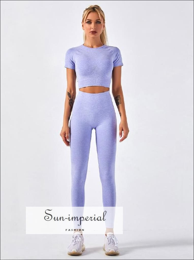 Women Two Piece Solid Purple Cropped Short Sleeve O Neck top Sport and High Waist Legging Set ACTIVE WEAR, active wear women, get active,