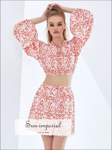 Women Two Piece White with Red Tribal Print Long Lantern Sleeve Cropped top and A-line Mini Skirt 2 piece, piece set, skirt tow set