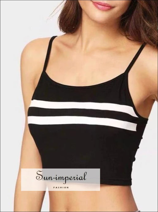 Women Two Striped Crop Cami Top Casual Crop Camis BASIC SUN-IMPERIAL United States