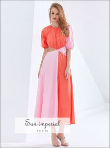 Women Two Tone Pink Cut out Puff Mid Sleeve High Neck Ruched Midi Dress A-line Flared Elegan Color bohemian style, boho elegant Unique Out