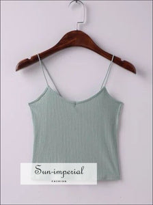 Women U neck Stripe Camis Basic crop tops tank tops SUN-IMPERIAL United States