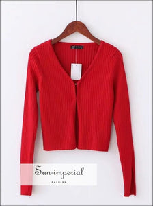 Women V Neck Knitting Ribbed Cardigan With Covered Button SUN-IMPERIAL United States