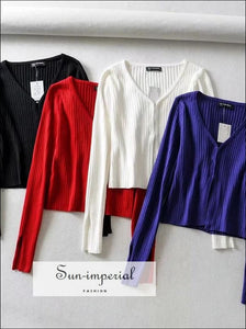 Women V Neck Knitting Ribbed Cardigan with Covered Button