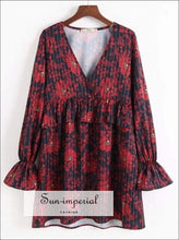 Women V Neck Striped Floral Print Red Dress Flare Sleeve Casual Vintage Loose Dress
