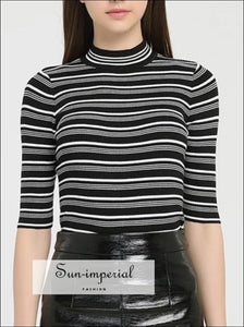 Women Vintage Black and White Striped Knitting T-shirt Turtleneck Half-sleeve Knitted Tops