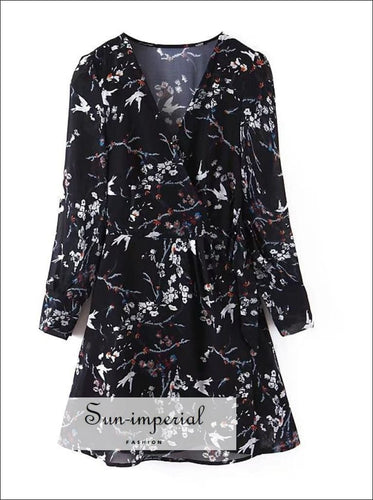 Women Vintage Black Floral Print Dress V Neck Long Sleeve High Waist A-line Casual Mini Dresses, BLACK FLORAL LONG SLEEVE MINI DRESS,