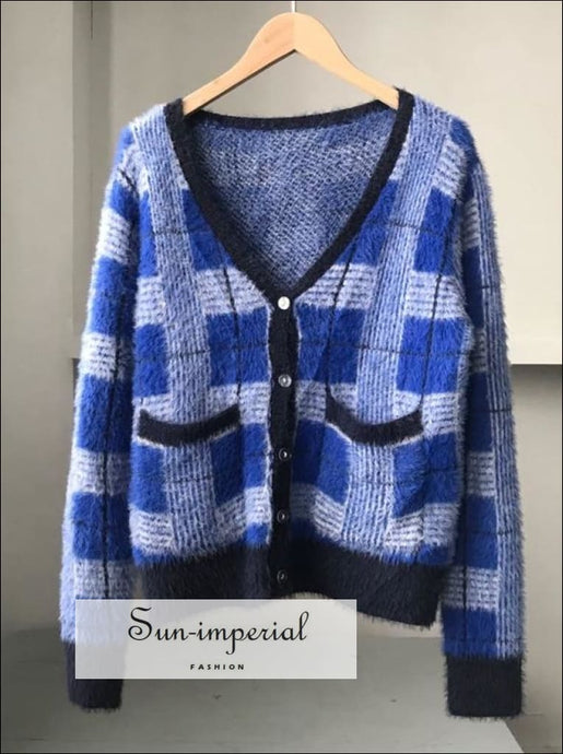 Women Vintage Blue Plaid Cardigan Sweater Button front Basic style, cardigan, checkered, gingham, green SUN-IMPERIAL United States