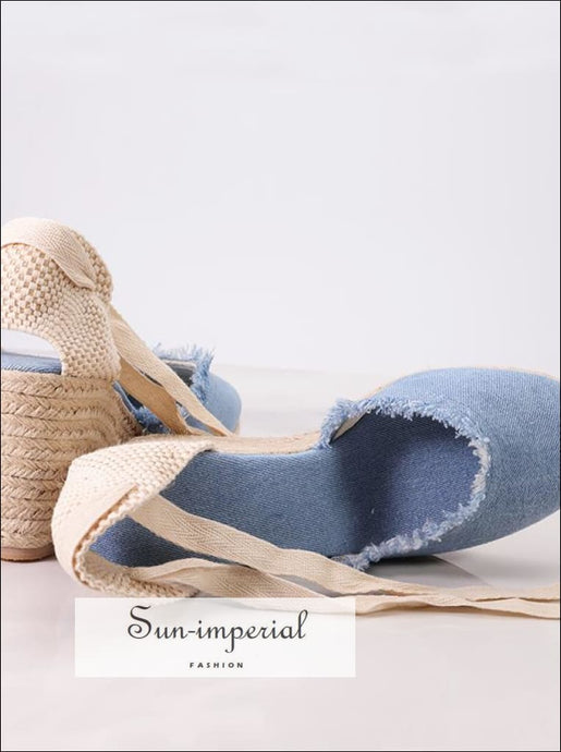 Women Vintage Canvas Wedge Summer Mid Heel Height Sandal Shoes SUN-IMPERIAL United States