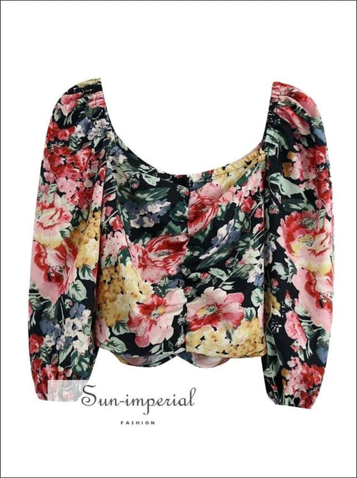 Women Vintage Floral Print Ruched Cropped Blouse with Square Collar Long Puff Sleeve detail top SUN-IMPERIAL United States