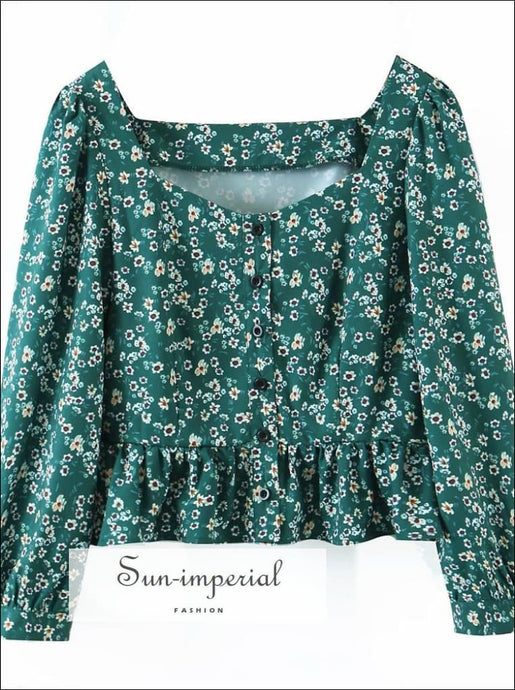 Women Vintage Green Floral Buttoned Blouse Long Sleeve top with Ruffle detail vintage style, women floral green top, long sleeve blouse