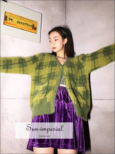 Women Vintage Kawaii Green Plaid Cardigan Sweater Button front Basic style, best seller, cardigan, checkered, gingham SUN-IMPERIAL United