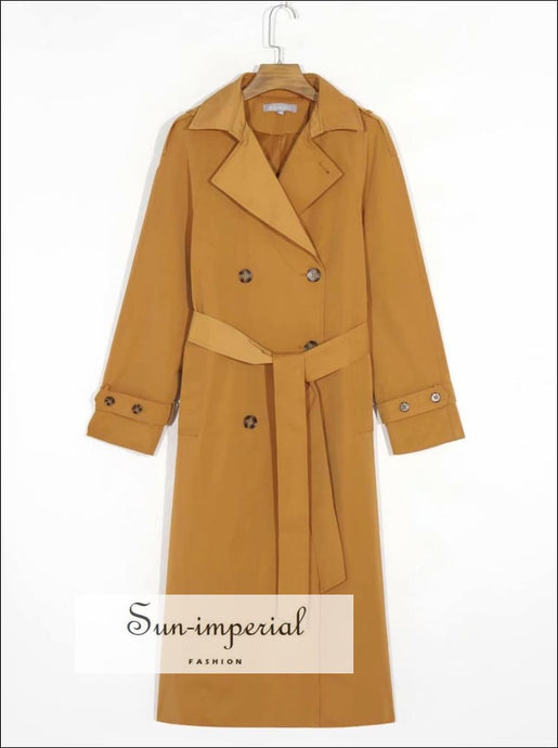 Women Vintage Khaki Basic Long Sleeve Midi Wind Blazer Coat with front Pockets style, casual elegant long wind coat, street style