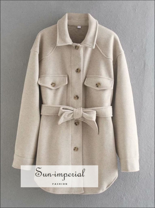 Women Vintage Khaki Blazer Coat Autumn Jacket with Double Pocket detail Basic style, casual harajuku street vintage style SUN-IMPERIAL