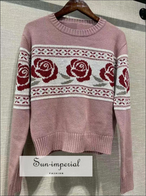 Women Vintage Pink Single Breasted Floral Rose Print Knit Long Sleeve Sweater rose print pink sweater, vintage, vintage style, syle,