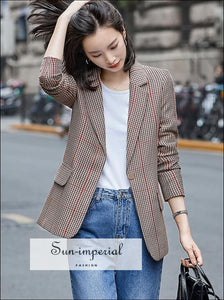Women Vintage Plaid Blazer Coat Notched Collar Long Sleeve Jacket casual style, elegant office wear, street vintage style SUN-IMPERIAL