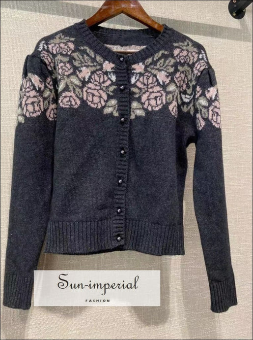 Women Vintage Single Breasted Floral Rose Print Knit Cardigan Long Sleeve Sweater bohemian style, boho casual harajuku Preppy Style Clothes