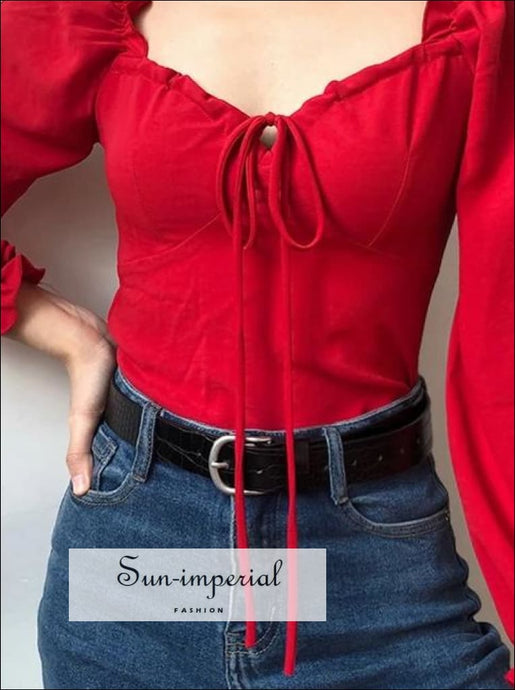 Women Vintage Sweetheart Neck Blouse Frill Elastic Puff Sleeve Top SUN-IMPERIAL United States