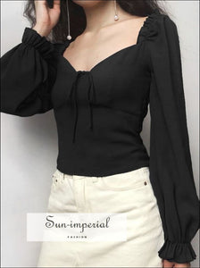 Women Vintage Sweetheart Neck Blouse Frill Elastic Puff Sleeve top