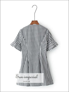 Women Vintage V Neck Button Gingham Dress with Ruffle Short Sleeve Mini Dresses BASIC SUN-IMPERIAL United States