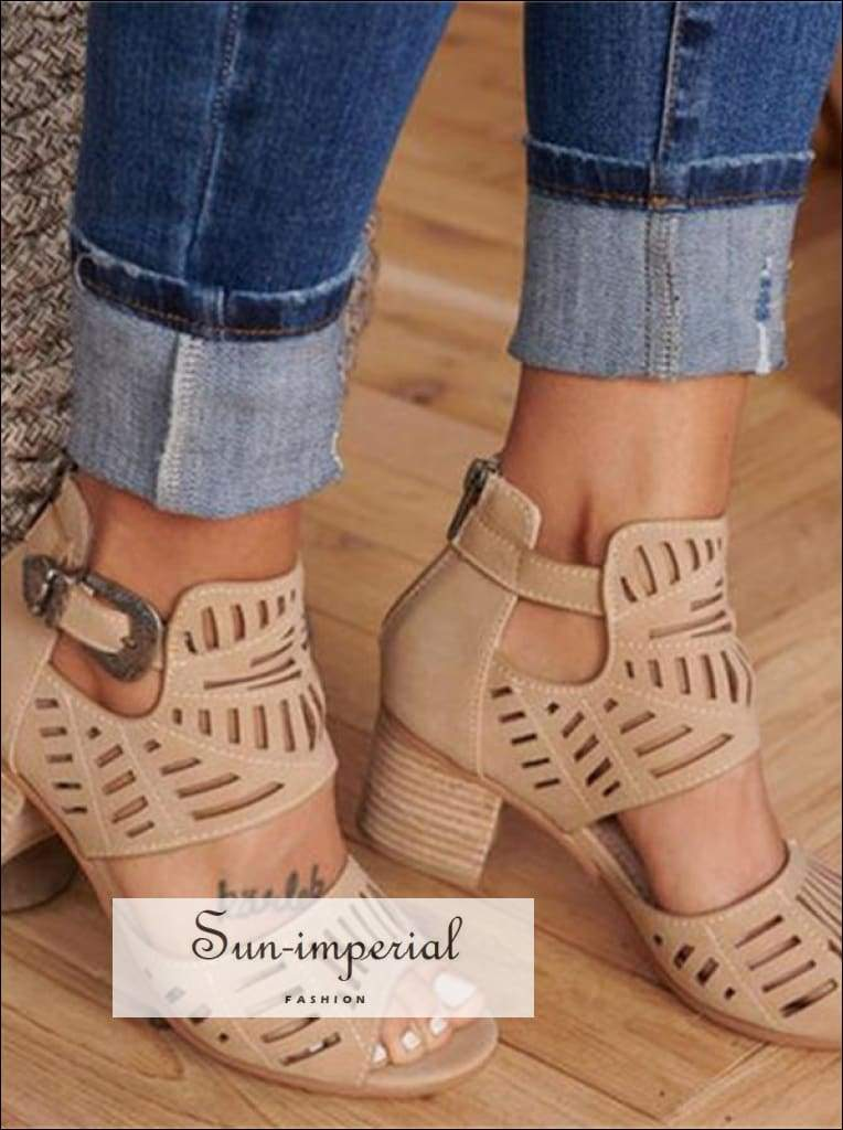 Women Wedge Sandals Mid Heel Summer Slip-on Buckle Ladies Shoes Open Toe Casual Wedding Pumps SUN-IMPERIAL United States