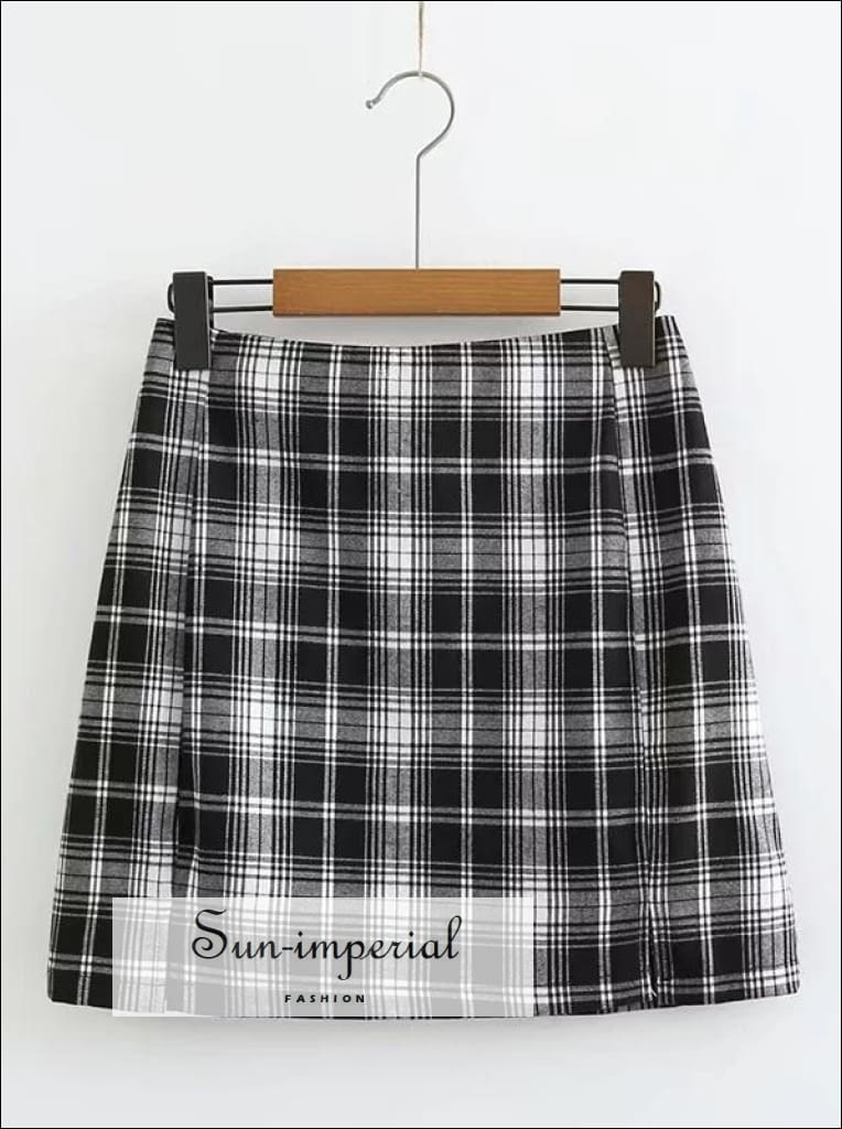 Women White and Black Plaid Print Mini Skirt with Two Small front Slits SUN-IMPERIAL United States