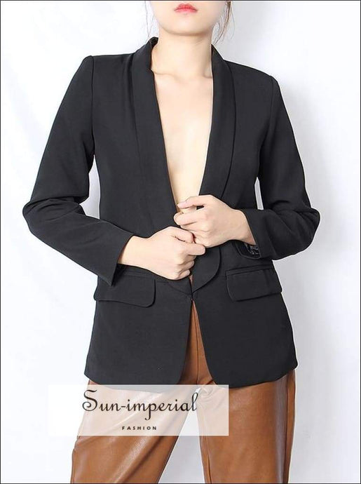 Women White Blazer Notched Collar Long Sleeve Oversized Casual Basic style, elegant Unique women black blazer, navy blazer SUN-IMPERIAL