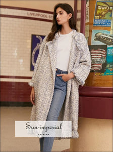 Women White Casual Tassel Tweed Long thick Coat casual style, elegant harajuku Unique vintage style SUN-IMPERIAL United States
