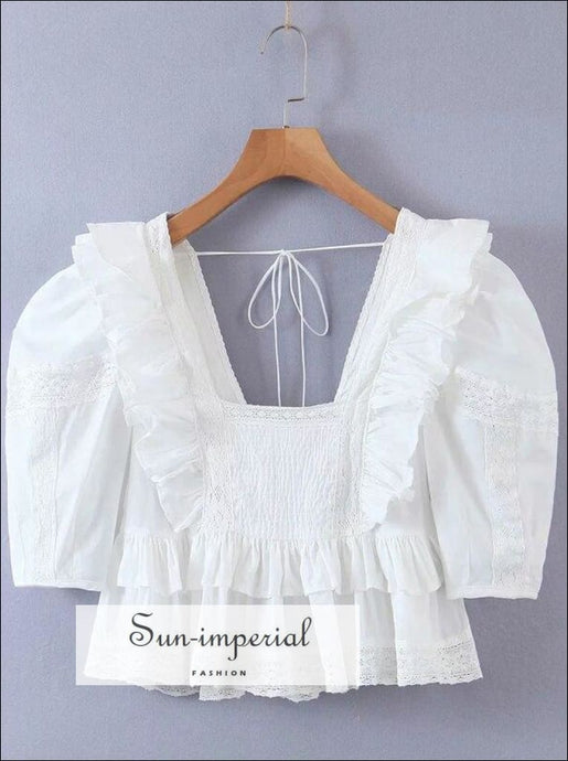Women White Cotton Frill Hem Short Puff Sleeve Blouse with Lace Inserts Square Neck Tie back Peplum With Back Top SUN-IMPERIAL United States