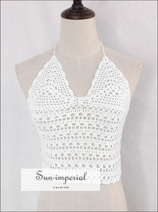 Women White Crochet Knit Crop top Halter Lace-up Beach Vacation top