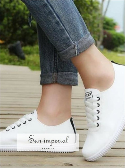 Women White Flat Sneakers Shoes Beach Footwear Size 35-40 SUN-IMPERIAL United States