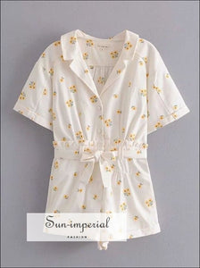 Women White Floral Embroidery Short Sleeve Romper with Belt Elastic Waist and back Pocket detail chick sexy style, vintage white floral