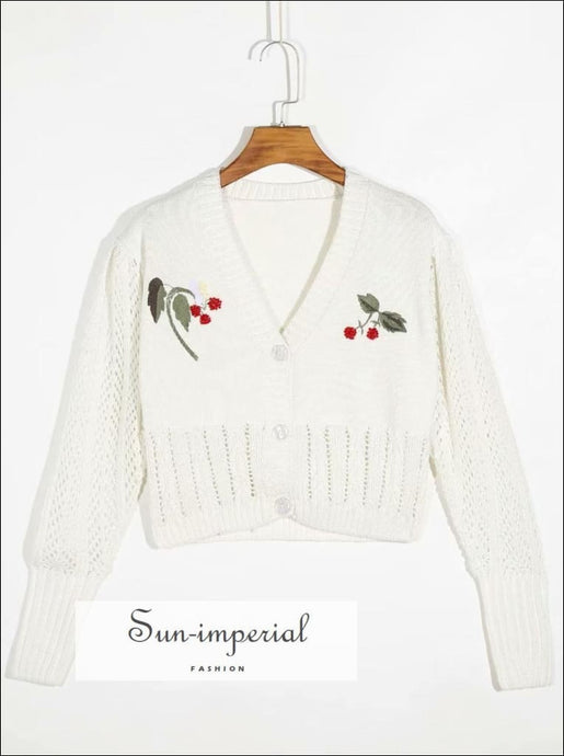 Women White Knitted Vintage Long Sleeve Cardigan Sweater with Cherry Embroidery detail vintage style SUN-IMPERIAL United States